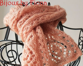 Handknitted mohair scarf: interesting lacework in peachy rose gold.