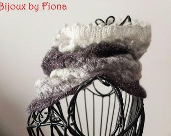 Handmade knitted cowl / neckwarmer in monochrome tones