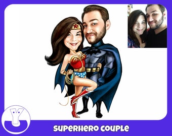 Personalised caricature gift superhero couple drawing cartoon, Wedding Gift, Romantic gift,Valentine's Day gift, Newlyweds Gift