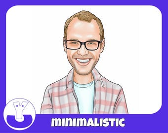 Personalized Caricature in manimalistic style from photo, digital caricature