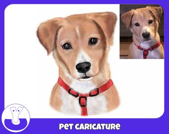 Custom pet caricature portrait from photo hand drawn dog lovers memoria gift personalised drawing dog illustration pencil original drawing