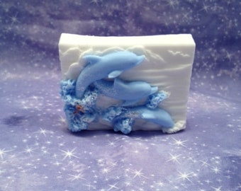 dolphins swimming in waves soap