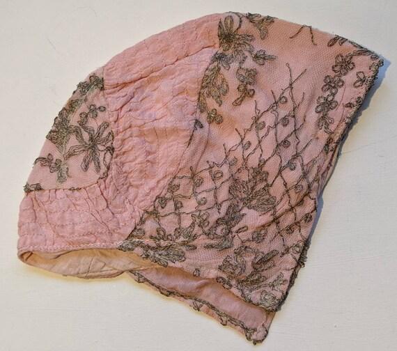 Antique Victorian pink embroidered hat bonnet