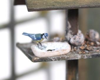 Blue Tit on slice of bread - 1/12th dollshouse miniature bird