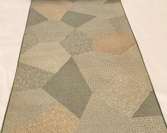 Vintage Japanese Silk Wool Kimono Fabric, SHOUZAN Wool, Matcha-green, Komon, Kiribame, Tessellation, Ocher color