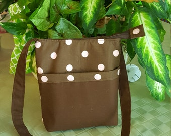 Brown with pink polka dots crossbody
