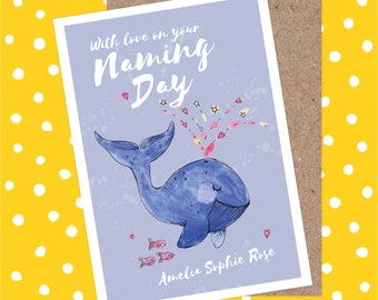 Personalised Naming Day Card -  Cute Blue Whale, Hearts, Non Religious, Goddaughter, Godson, Guide Parents, Naming Ceremony, Christening