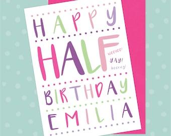 Personalised 6 Month Birthday / Half Birthday Card - Custom Baby Milestone Celebration Girls Greetings Card