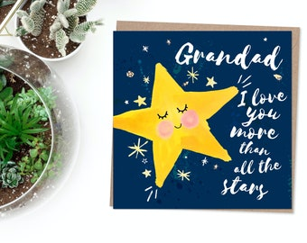 Cute Grandad Father's Day Card - Love You, More Than All The Stars, Twinkle Twinkle, Little Star, Best Grandad, Birthday, Miss You, Lockdown