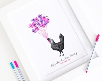 Personalised / Customised Hen Party Print - Vintage Hen A4 Thumbprint Guest Book Print