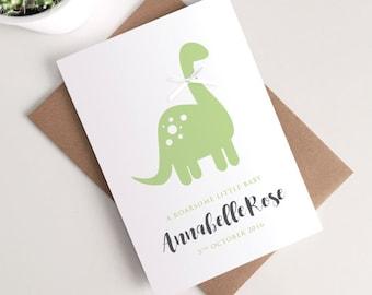 Personalised Gender Neutral New Baby Card - Cute Dinosaur Roarsome Green Ribbon Greetings Card