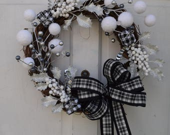 Winter Inspired Black and White Delight Wreath