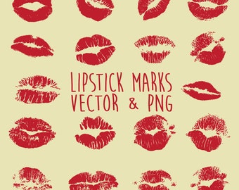 Lipstick Clipart Lips Stain Mark Clip Art Vector PNG EPS AI Design Elements Digital Instant Download