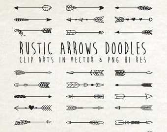 Hand Drawn Arrow Clipart Doodle Rustic Clip Art PNG Vector EPS AI Design Elements Digital Instant Download