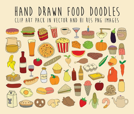 Hand Drawn Food Doodle Clipart Doodle Food Clipart Scribble Etsy