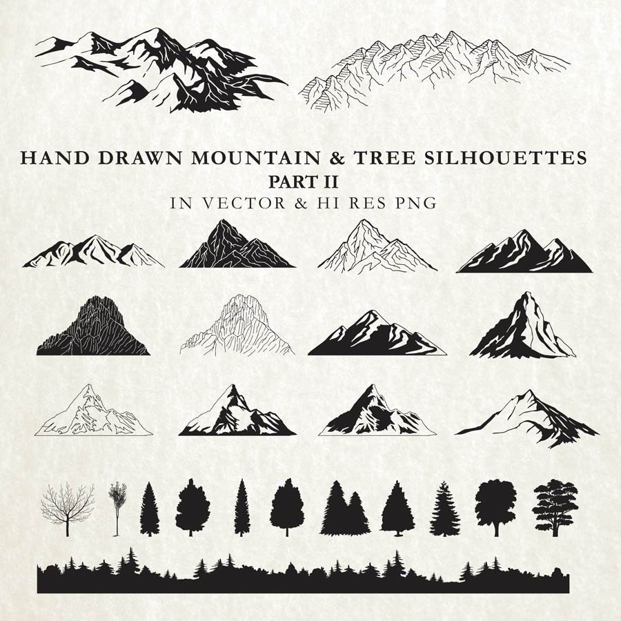 Hand Drawn Mountain Clipart Cartography Nature