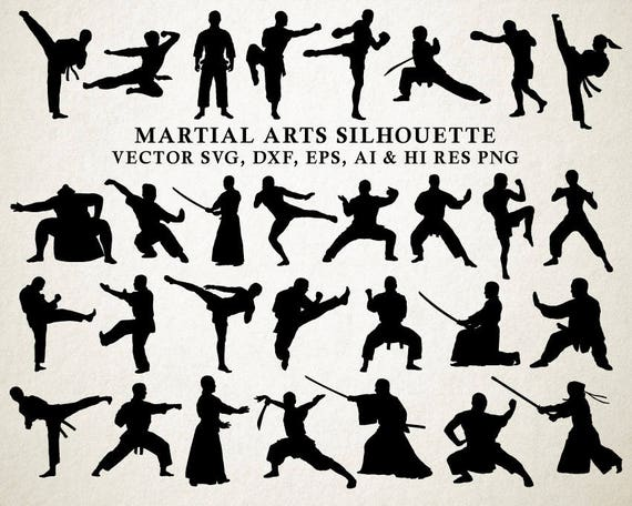 Arts martiaux SVG, Martial Arts Silhouette Cut Files, Karate SVG Vector Cut Files svg dxf eps png Silhouette Cameo Cricut Transfer Cutting