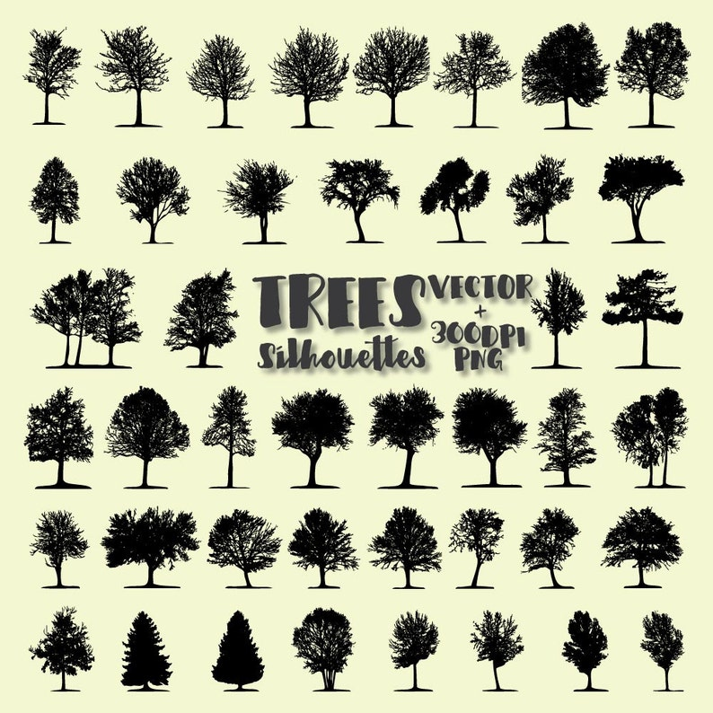 Tree Silhouette Clip Art Tree Clip Art Tree Clipart Png Etsy