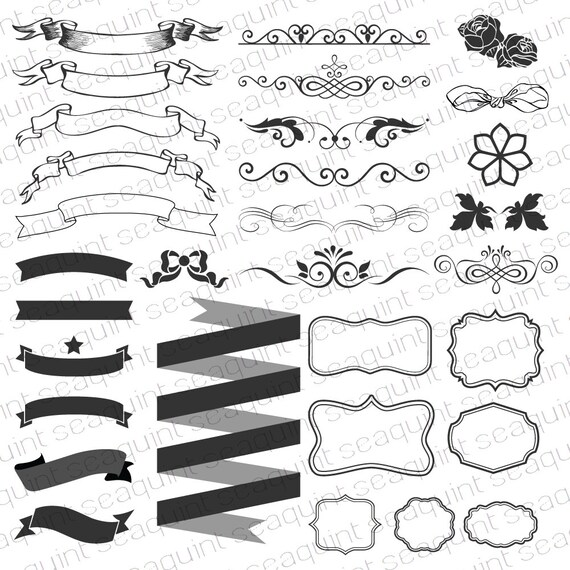 Ornate Banner Clipart Frame Border Ribbon Wedding PNG Vector EPS AI Design Elements Instant Download From