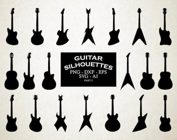 guitar svg guitar silhouette svg clip art guitar cut files etsy