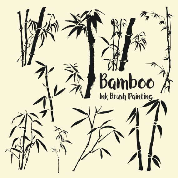 Japanese Chinese Ink Brush Bamboo Clipart Bamboo Clip Art Etsy