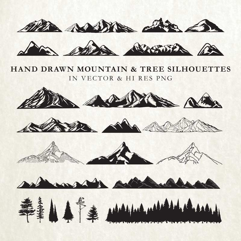Hand Drawn Mountain Clipart Silhouette Nature