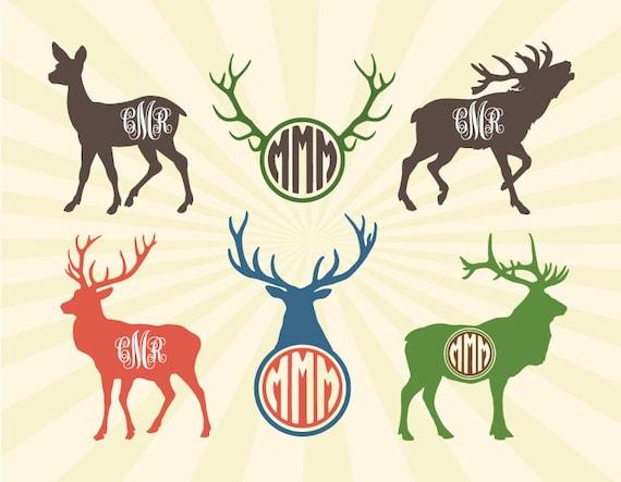 Deer SVG Moose SVG Deer Moose Monogram Frame SVG Cut Files | Etsy