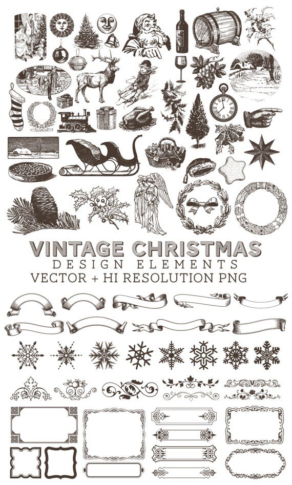 Christmas Illustrations Vintage.Retro Vintage Christmas Illustrations Clipart Clip Art Png Vector Eps Ai Design Elements Digital Instant Download