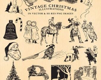 Vintage Christmas Illustrations Clipart Clip art PNG & Vector EPS, AI Design Element Instant Download