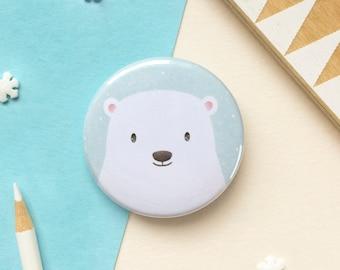 Polar Bear Badge - Button Badge - Cute Badges - Christmas Polar Bear - 38mm Badge - Animal Badge - Gift for Kids - Stocking Fillers for Kids