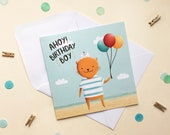 Ahoy Birthday Boy - Nautical Birthday Card - Birthday Card - Cat Card - Children's Birthday Card - Boy's Birthday Card - Sailor Card
