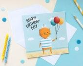 Boy's Birthday Card - First Birthday Card - Happy Birthday Card - Nautical Birthday - Children's Birthday Cards - Cat Birthday Card