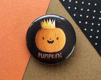 Pumpkin Badge - Halloween Gift - Button Badge - Cute Halloween Pumpkin Badge - Food Badge - Jack O Lantern - 38mm Badge - Spooky Badge