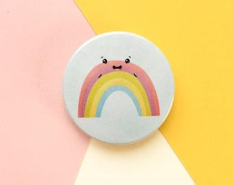 Rainbow Button Badge - Cute Badges - Pride Pin Badge - Colourful Birthday Gift - 38mm Badge - Rainbow Gift - Kids Accessories - Kawaii Badge