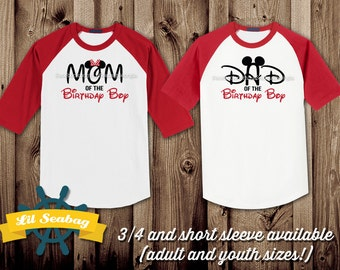 Dad Mom Of The Birthday Boy Red Raglan Shirt Jersey