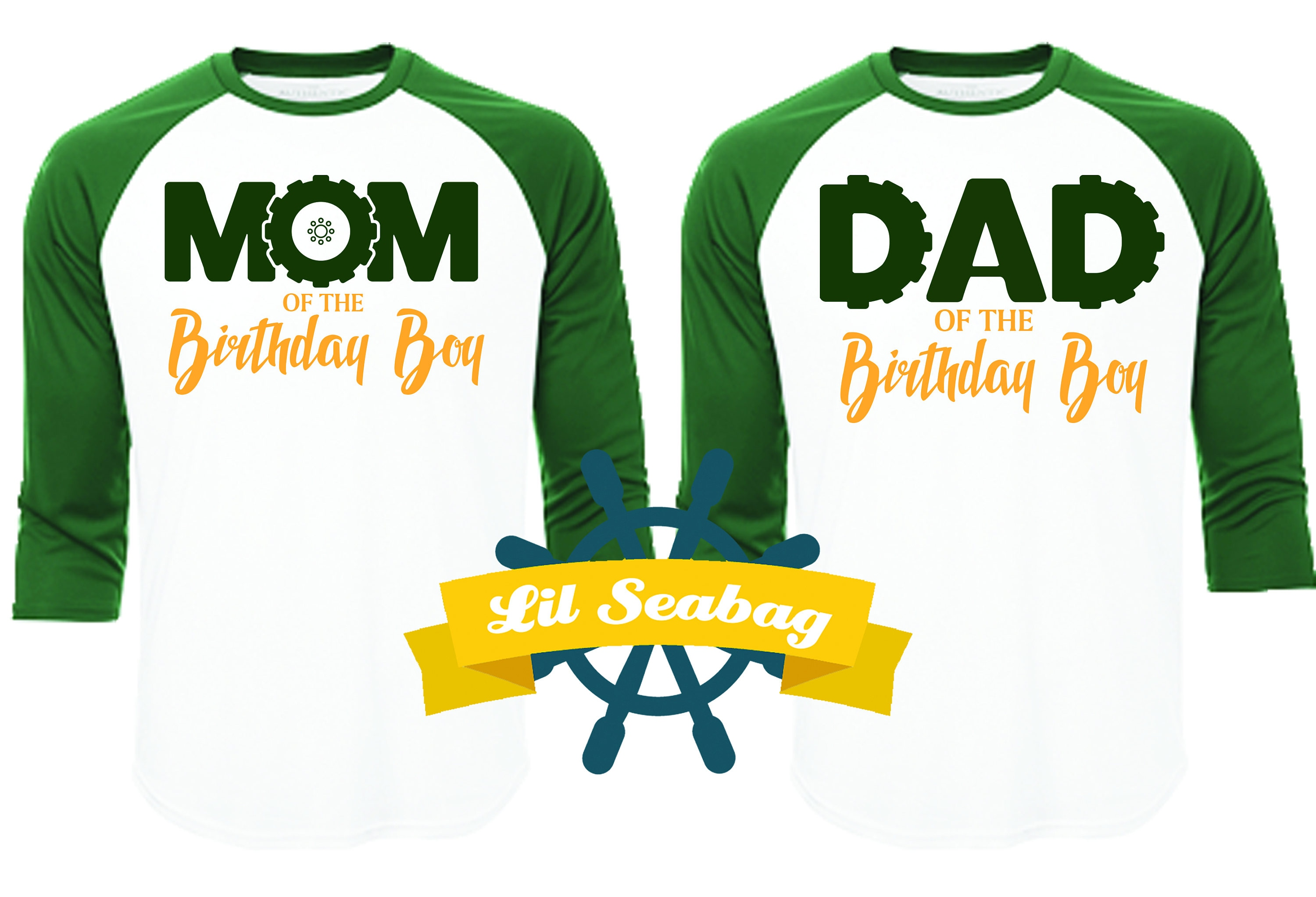 Dad Mom Of The Birthday Boy Green Raglan Shirt Tractor