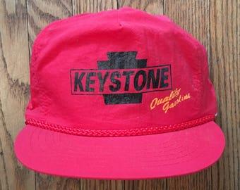 afe143e4f43 Vintage 90s Neon Keystone Quality Gasoline Zipback Strapback Hat Baseball  Cap