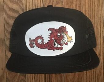 Vintage Fire Breathing Dragon Mesh Trucker Hat Snapback Hat Baseball Cap * Made In USA
