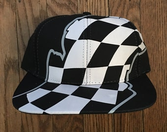 cf2f3513fed Vintage Deadstock Black Checkered Flag Racing All Over Print Snapback Hat  Baseball Cap