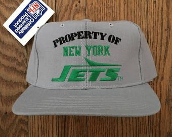 Vintage 90s Deadstock Property of New York Jets NFL New Era Snapback Hat  Baseball Cap b227fc979