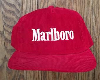 77106843e69 Vintage 80s 90s Deadstock Corduroy Marlboro Cigarettes Tobacco Snapback Hat  Baseball Cap