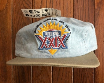 Vintage 90s Denim 1995 Super Bowl XXIX San Francisco 49ers Miami Florida  NFL Strapback Hat Baseball Cap   Made In USA 3b07e17e0