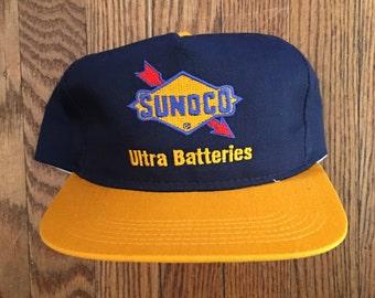 48d48f3efde Vintage 90s Sunoco Ultra Batteries Adjustable Hat Baseball Cap