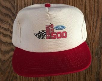 Vintage 90s Ford Memorial Day 500 Strapback Hat Baseball Cap