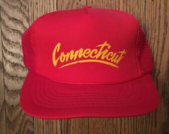 Vintage Connecticut Vacation Tourist Travel Mesh Trucker Hat Snapback Hat  Baseball Cap 8ccf3f88f747