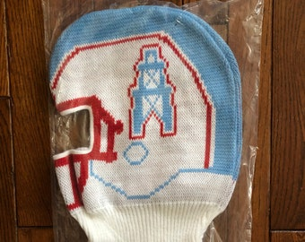 6b8855b84a4 Vintage 80s 90s Deadstock Houston Oilers NFL Beanie Knit Ski Mask Warm Winter  Hat Cap
