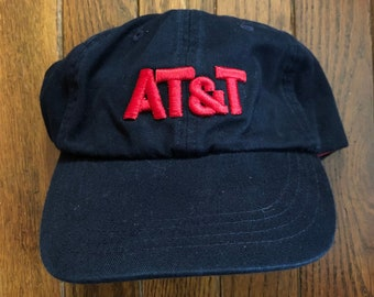 Vintage 90s Minimal AT T Unstructured Strapback Hat Baseball Cap c5419e860ab