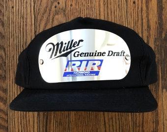 f2917de1cfd Vintage 90s Miller Lite Racing Beer Snapback Hat Baseball Cap