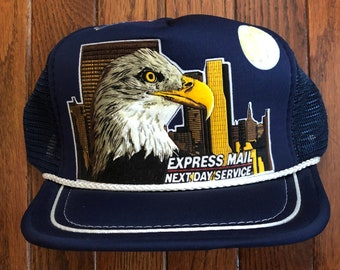 199012e0c74 Vintage 80s 90s USPS Post Office Express Mail Mesh Trucker Hat Snapback Hat  Baseball Cap