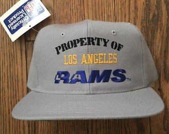 Vintage 90s Deadstock Property of Los Angeles Rams LA Rams NFL Football New Era Snapback Hat Baseball Cap